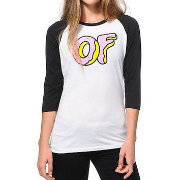 Odd Future OFWGKTA OF DONUT Baseball Raglan Junior T-Shirt NWT 100% Authentic