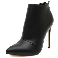 New women pumps high heels boots shoes woman pointed toe wedding party dress stiletto ladies short ankle boots zipper size 35-40