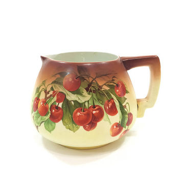 Antique Hand Painted Cider Pitcher, Sprig of Cherries, Ombre Style Paint, Brown to Cream, Unmarked, 1900s, Antique Hand Painted Porcelain