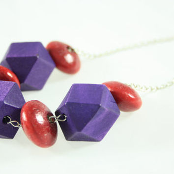 Geometric Necklace, Wooden Purple and Red Beads On Metal Chain, Lobster Claw Clasp