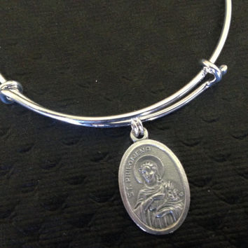Saint Philomela Charm on a Silver Expandable Adjustable Bangle Bracelet Patron saint of children, youth, babies, infants, lost causes, sterility, and virgins.