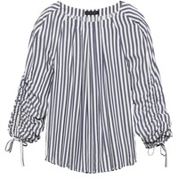 Stripe Drawstring-Sleeve Top|banana-republic