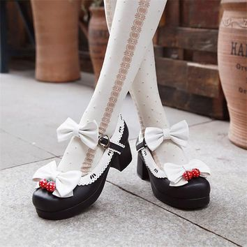 Lolita Princess Single High heels Sweet cute Girl Shoes Bowtie Cos Cosplay Shoes 34-39