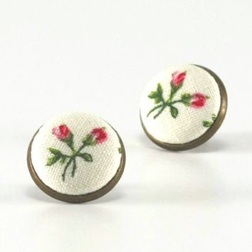 Stud Earrings - Rosebuds Earring Studs - Pink and Green Flowers on White - Romantic Shabby Chic Fabric Buttons Jewelry - Antique Posts
