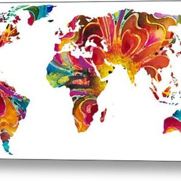 Map Of The World 2 -colorful Abstract Art Metal Print