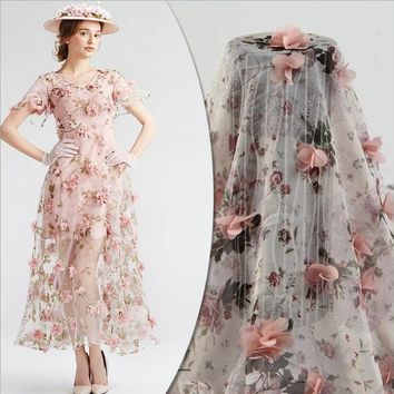 """1 meter, 39"""" 3D lace fabric with Pink 3D rosette flowers appliques fabric Wide 140cm, 55in"""