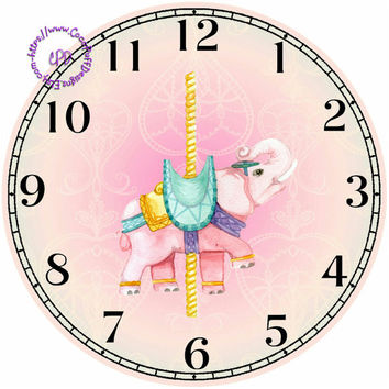 """Pink Merry-Go-Around Elephant Art - -DIY Digital Collage - 12.5"""" DIA for 12"""" Clock Face Art - Crafts Projects"""