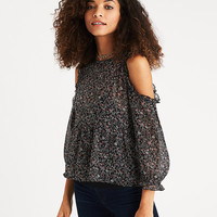 AEO Ruffle-Trim Cold Shoulder Top, Black