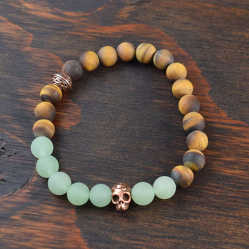 Men's Beaded Bracelet. Tiger Eye Bracelet. Aventurine Bracelet. Celtic. Day of the Dead. Men's Skull Bracelet. Lotus and Lava Bracelet
