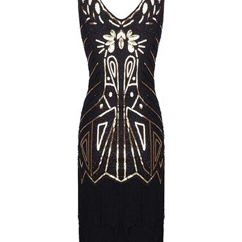 Black 1920s Retro Sequin Fringed Flapper Dress