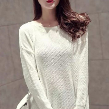 White Back Keyhole Long Sleeve Knitted Top