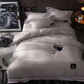 Solstice Home 2017 New Cotton Fabric Bedlinens Flat Sheet Pillow Cases Hotel Bedding Sets Queen King Size Duvet Cover Set