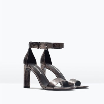 Leather high heel sandal with ankle strap