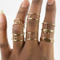 Hammered Letter Ring