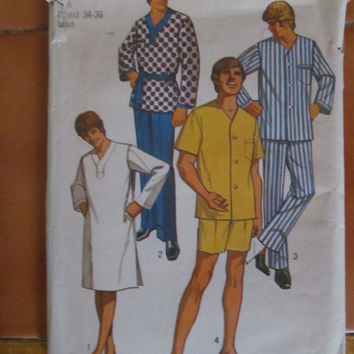 Sale 1970's Simplicity Sewing Pattern, 9433! Boxers, Karate outfit, Pajamas, Night Shirt, 2 piece, Men's, Size Small, Teens, Chest 34-36.