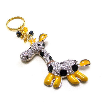 Rhinestone and Enamel Giraffe Charm/Keyring + Crystal Beads,  Giraffe Keyring,Gold Key Chain,Sparkle Keyring,Crystal Bag Charm,Animal Lovers