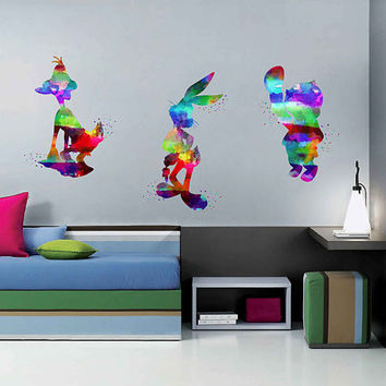 kcik2020 Full Color Wall decal Watercolor Character Disney Sticker Disney children's room Bugs Bunny rabbit Daffy Duck Porky Pig