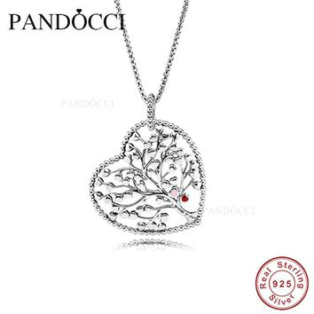 2018 Valentine Tree of Love Necklace Mixed Enamel 925 Sterling Silver Bead Fit Pandora Bracelet Bangle DIY Jewelry Making