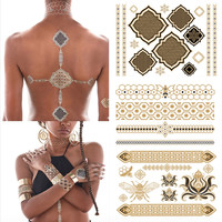 3D Premium Metallic Flash Gold Temporary Tattoos Waterproof Body Jewelry 5 Sheets
