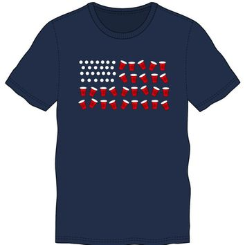 The United States Of American USA Flag Lights Men's Blue T-Shirt