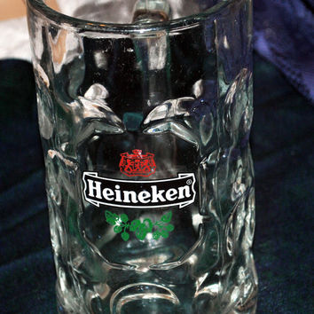 Vintage-Heavy Glass Mug-Beer Mug-Heineken-Vase-Change Holder-Retro-Collectible