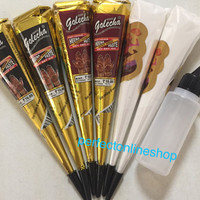 2 black 2 brown 2 white henna cones with  henna applicator designs body tattoo kit black tattoo design own tattoo with mix henna INK DIY