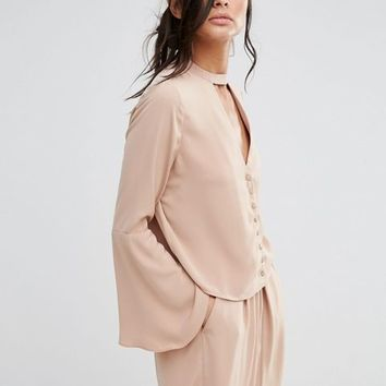 Neon Rose Fluted Sleeve Blouse With Choker Detail Co-Ord at asos.com