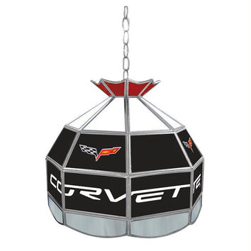 Corvette C6 Stained Glass Tiffany Lamp - 16 inch diameter
