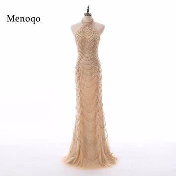 Menoqo Halter Backless Sexy Mermaid Prom Dresses Long Elegant Evening Gowns 2017 Robe De Soiree