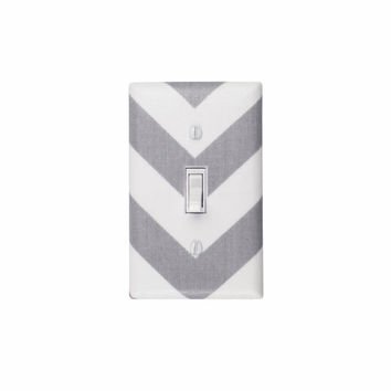 Chevron Light Switch Plate Cover / Gray and White / Zig Zags / Storm Grey Premier Prints / Slightly Smitten Kitten