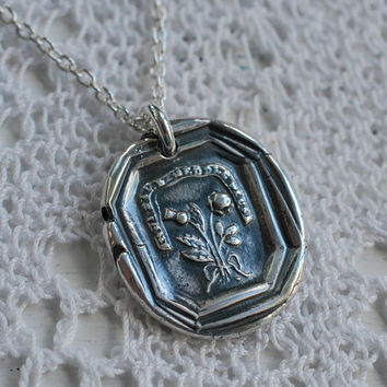 the rose and the scottish thistle wax seal necklace charm in fine silver