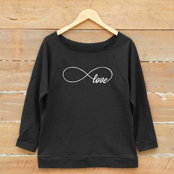 Infinity love tshirt Infinity shirt funny tshirt teen shirt tumblr quote women off shoulder sweatshirt slouchy jumper women sweatshirt