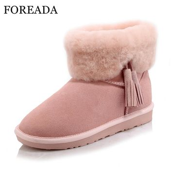 FOREADA Genuine Leather Girls Snow Boots Fur Women Ankle Boots Plush Platform Wedges Low Heel Boots Fringe Shoes Female Pink