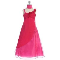 Chic Baby Fuchsia Charmeuse Occasion Dress Toddler Little Girls 2T-16