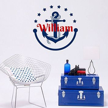 Personalized Anchor Boys Name Wall Decal Nautical Vinyl Sticker Custom Name Decals Stars Anchor Name Decor Nursery Kids Boys Room Art NV217