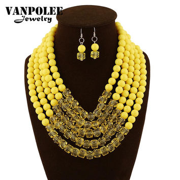 2015 African Jewelry Fashion Accessories Glass Beads Crystal Necklaces Matching Drop Earrings Jewelry for Women Wedding