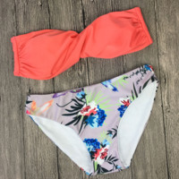 Upper orange rose red strapless bottom flower print two piece bikini