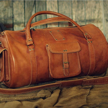 "Leather Sports Bag 24"" / Leather Duffle Bag / Leather Travel Bag / Gym Bag / Cabin Travel Bag / Weekender Bag / Overnight Bag / Leather Bag"