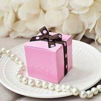 "10 Pink Party Favor Boxes with Polka Dot Ribbon  2"" Wedding Baby Shower"