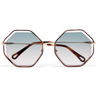 Chloé - Poppy octagon-frame acetate and gold-tone sunglasses