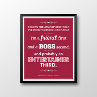 Dunder Mifflin The Office Instant Download Michael Scott Quote Season 1 Episode 1 Printable -  Friend 1st, Boss 2nd, Entertainer 3rd - Red