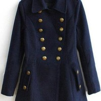 Navy Laple Woolen Coat$98.00