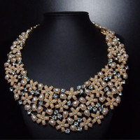 Tahitian Big Delicate Collar - Delicate Tiny Pink Pearl Flowers with Pearls and Gems