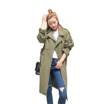 Women Trench Coat Fashion Plus Size Loose Solid Overcoat 2017 Spring Autumn Casual Lapel Cardigan Thin Long Coat Female C143