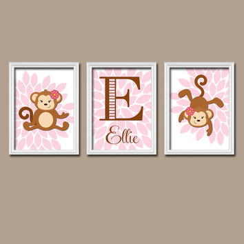 Cute Monkey Jungle Girl Custom Name Personalized Pink Brown Flower Burst Artwork Set of 3 Trio Prints WALL Decor ART Crib NURSERY Girl Baby