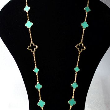 "Clovers Chain 36"" Long Necklace-Turquoise/Gold"