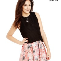 Aeropostale Womens Floral Pleated Skater Skirt - Gray,
