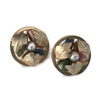 Vintage Sarah Coventry Clip Earrings Designer Clip on Earrings Tumbled Stones and Gold Leaves Round