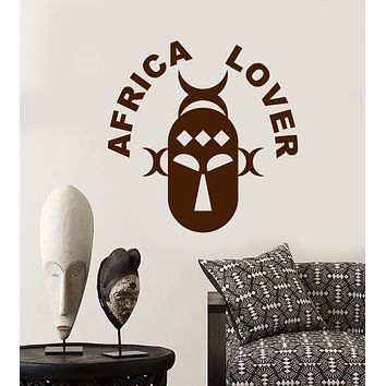 Vinyl Wall Decal Africa Lover Words Logotype African Ancient Ethnic Mask Stickers (2927ig)