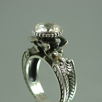 CARYATID Silver Ring with White Topaz by WingedLion on Etsy